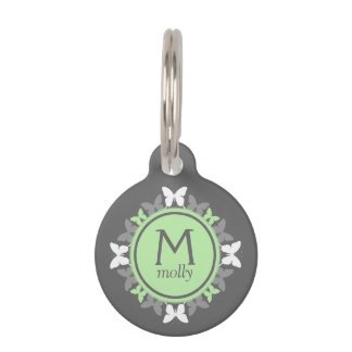 Monogrammed Butterfly Dog Tag - Green Butterflies