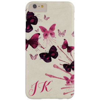 Monogrammed Butterfly Tan & Burgundy Phone Case