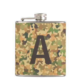 Monogrammed Camo Fall Colors Hip Flask
