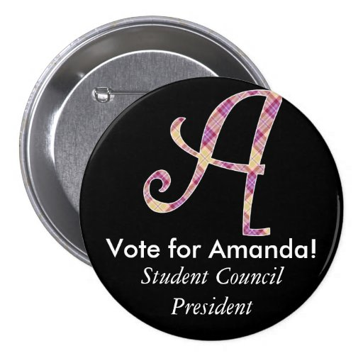 Monogrammed Campaign Button - Letter A