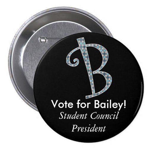 Monogrammed Campaign Button - Letter B