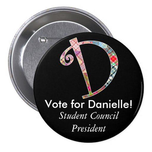 Monogrammed Campaign Button - Letter D