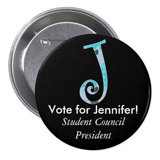 Monogrammed Campaign Button - Letter J