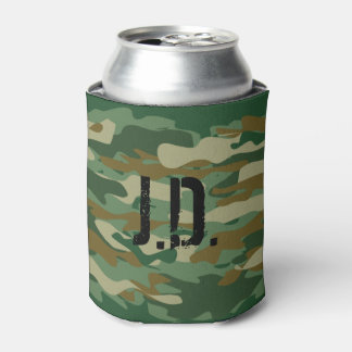 Monogrammed can cooler with army camouflage design