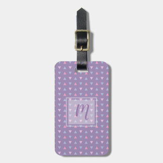 Monogrammed Candy Color Triangle Pattern Luggage Tag