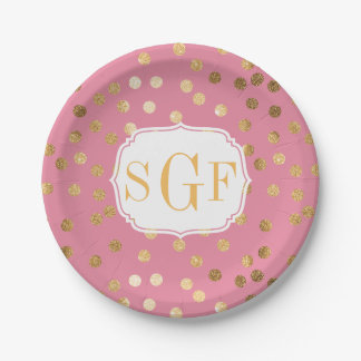 Monogrammed Candy Pink and Gold Glitter City Dots Paper Plate