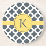 Monogrammed Charcoal and  White Quatrefoil Pattern