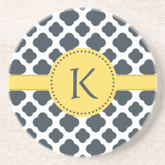 Monogrammed Charcoal and  White Quatrefoil Pattern Coaster