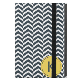 Monogrammed Charcoal and White with Yellow Chevron Covers For iPad Mini