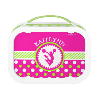 Monogrammed Cheer/Pom Pink and Green Polka-Dots Lunch Box