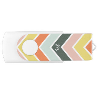 Monogrammed | Cheerful Chevron by Origami Prints Swivel USB 2.0 Flash Drive