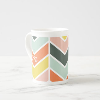 Monogrammed | Cheerful Chevron by Origami Prints Tea Cup