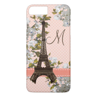 Monogrammed Cherry Blossom Eiffel Tower iPhone 7 Plus Case