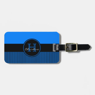 Monogrammed Chic Azure Blue Stripes Black Circle Luggage Tag