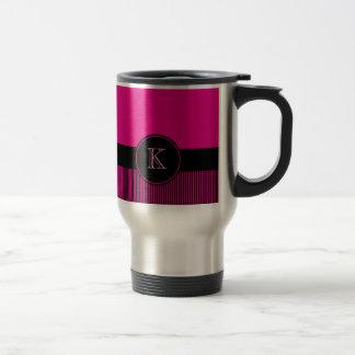Monogrammed Chic Deep Pink Black Stripes Circle 15 Oz Stainless Steel Travel Mug