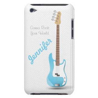 Monogrammed Chic Electric Guitar Sky Blue Stripes iPod Case-Mate Case