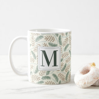 Monogrammed Christmas Foliage Coffee Mug