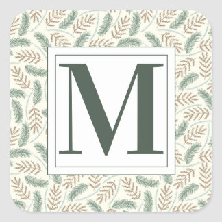 Monogrammed Christmas Foliage Square Sticker