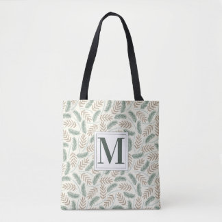Monogrammed Christmas Foliage Tote Bag