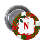 Monogrammed Christmas Quilt Patchwork Button