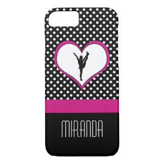 Monogrammed Classic Pink Cheer Polka-Dot w/ Heart iPhone 8/7 Case
