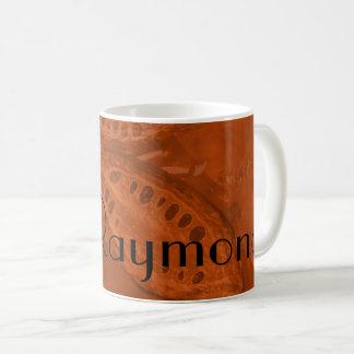 Monogrammed Cocoa Beans & Leaves in Orange Coffee Mug