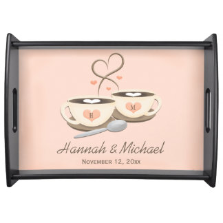 Monogrammed Coffee Cup Hearts Wedding Serving Tray