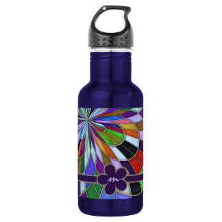Monogrammed Colorful Abstract Stained Glass Flower 532 Ml Water Bottle