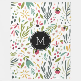 Monogrammed Colorful Botanical Flowers & Leafs Fleece Blanket