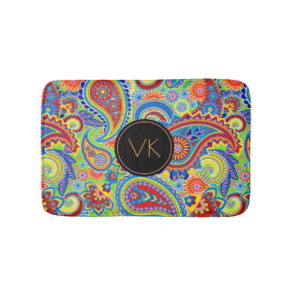 Monogrammed Colorful paisley Pattern Bath Mat