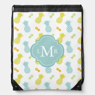 Monogrammed Colorful Pineapples Pattern Drawstring Bag