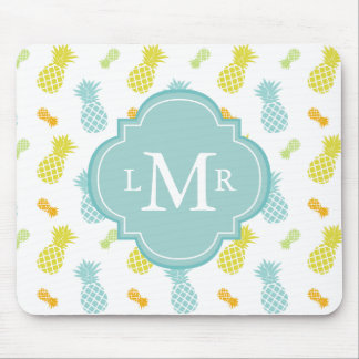 Monogrammed Colorful Pineapples Pattern Mouse Pad
