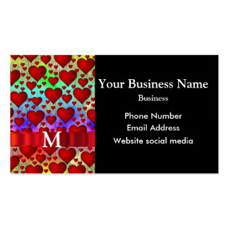 Monogrammed colorful red heart pattern business card