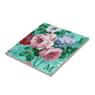 Monogrammed Colorful Roses Small Square Tile