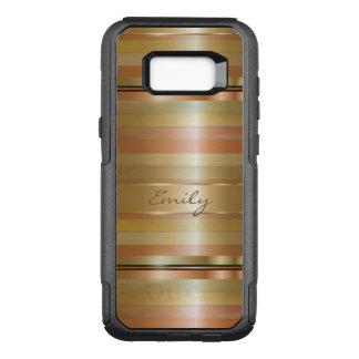 Monogrammed Copper Gold Stripes OtterBox Commuter Samsung Galaxy S8+ Case