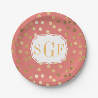 Monogrammed Coral and Gold Glitter City Dots Paper Plate