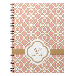 Monogrammed Coral and Gold Moroccan Notebook