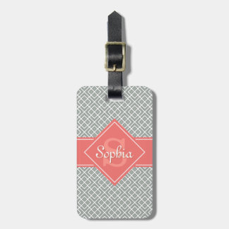 Monogrammed Coral and Grey Diamond Pattern Bag Tag