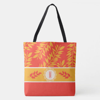 Monogrammed Coral and Yellow Summer Cabana Tote Bag