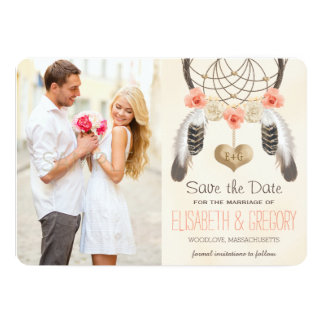 MONOGRAMMED CORAL MINT DREAMCATCHER SAVE THE DATE CARD