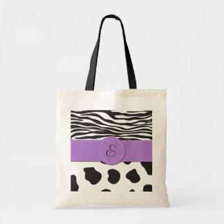 Monogrammed Cow Zebra Black White Purple Tote Bags