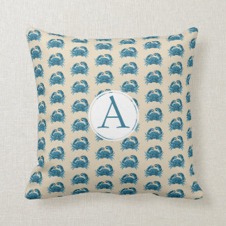 Monogrammed  Crab patterned in blue and tan Cushion
