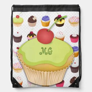 Monogrammed Cupcakes Galore - Drawstring Backpack3 Drawstring Bags