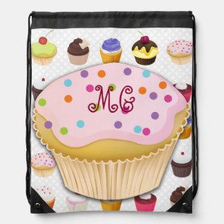 Monogrammed Cupcakes Galore - Drawstring Backpack4 Cinch Bags