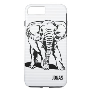 Monogrammed Cute Black Elephant Line Drawing iPhone 8 Plus/7 Plus Case