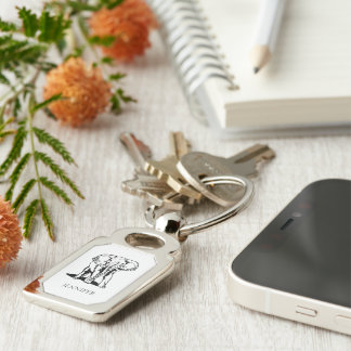 Monogrammed Cute Black Elephant Silver-Colored Rectangle Key Ring