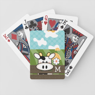 Monogrammed Cute Cow Bicycle Playing Cards