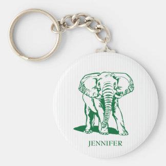 Monogrammed Cute Hunter Green Elephant Basic Round Button Key Ring