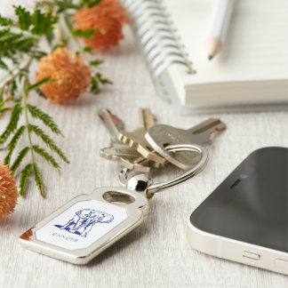 Monogrammed Cute Navy Blue Elephant Line Drawing Silver-Colored Rectangle Key Ring