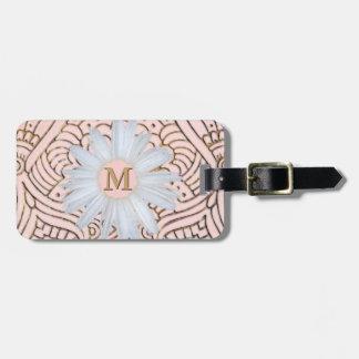 Monogrammed Daisy   Blush Pink Gold Bohemian Bag Tag
